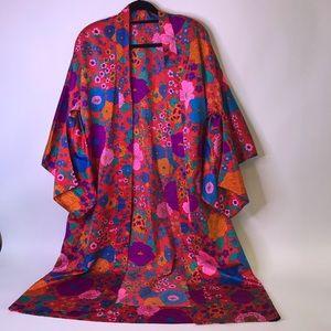 Handmade Retro Floral Satin Robe Kimono